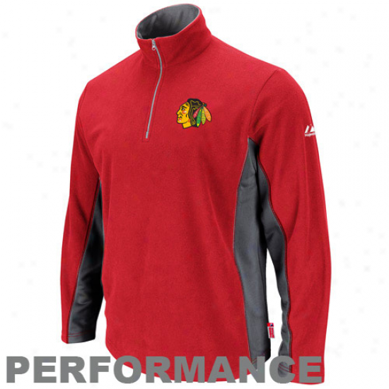 Majestic Chicago Blackhawks Red Straight Ahead Quarter Zip Performance Jacket