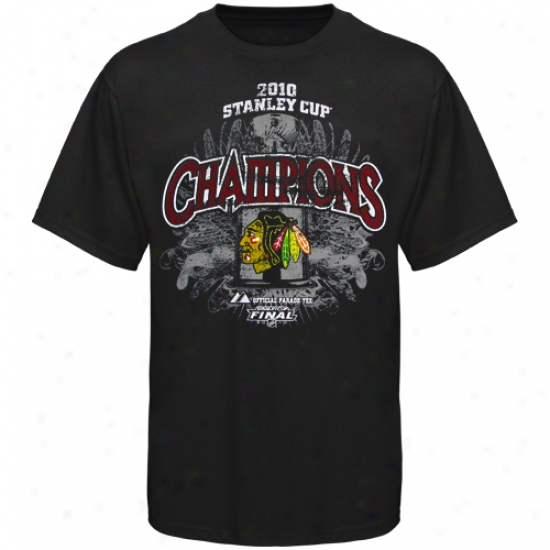 Majestic Chicago Blackhawks Youth Black 2010 Nhl Stanley Cup Champions Breakout Performance Parade T-shirt