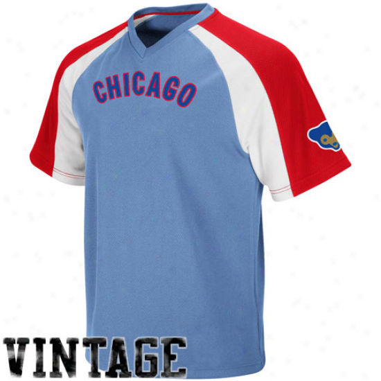 August Chicago Cubs Cooperstown Pullover Jersey - Light Blue-red