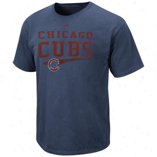 Majestic Chicago Cubs Empty Bullpen Pigment Dyed T-shirt - Navy Blue