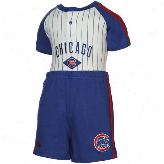 Majestic Chicago Cubs Infant White Pinstripe-royal Blue Creeper & Shorts Set
