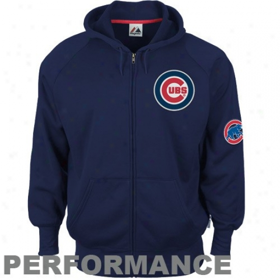 Majestic Chicago Cubs Navy Blue Gaining Ground Performance Full Zip Hoody Sweatshirt