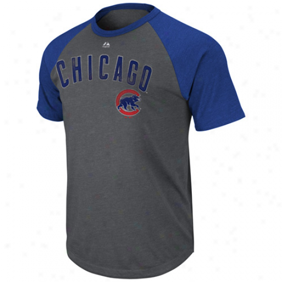 Majestic Chicago Cubs Record Holder Raglan T-shirt - Charcoal-rotal Blue