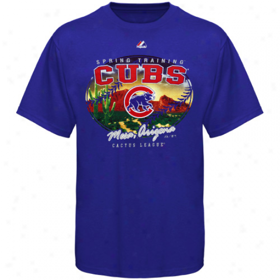 Majestic Chicago Cubs Boy 2012 Spring Training Refer Play T-snirt - Royal Blue
