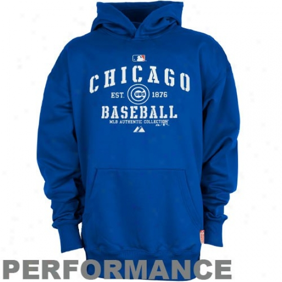 Majestic Chicago Cubs Youth Royal Blue Ac Classic Therma Base Performance Hoody Sweatshirt
