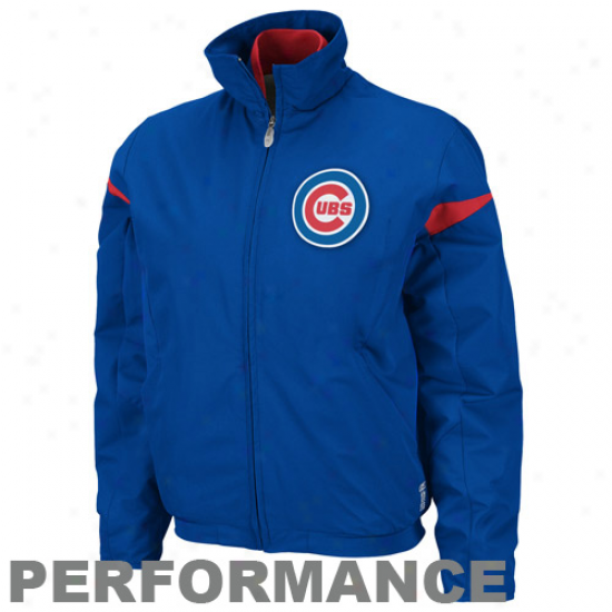 Majestic Chicago Cubs Boy Royal Blue Therma Base Threefold Peak Premier Full Zip Jacket
