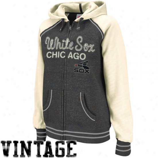 Majestic Chicago White Sox Ladies Gray-cream Cooperstown Wicked Slider Full Zip Vintage Hoody