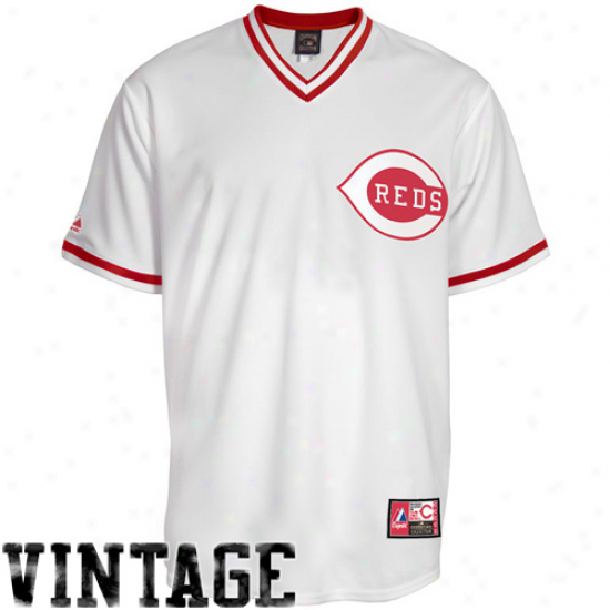 Majestic Cincinnati Reds Cooperstown Co1lection Throwback Jersey - White