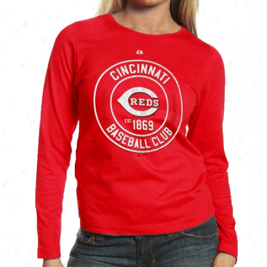 Majestic Cincinnati Reds Ladies Pro Sports Baseball Club Long Sleeve T-shirt - Red
