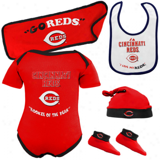Majestic Cincinnati Reds Newborn Red Rookie Of The Year 5-piece Creeper Impart