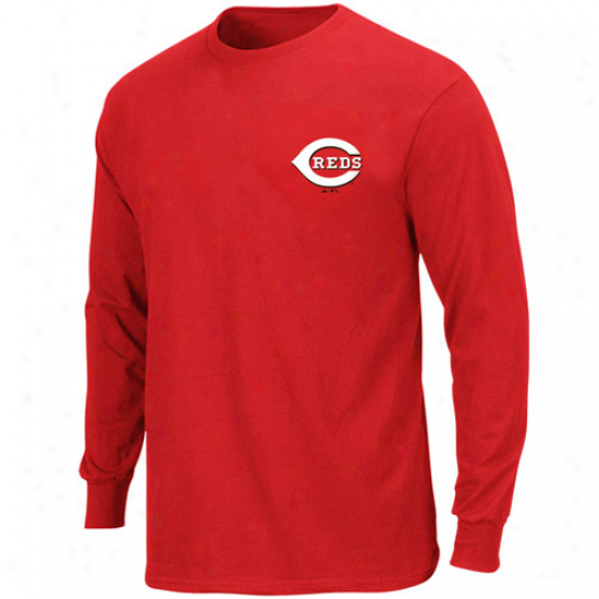 Majestic Cincinnati Reds Official Wordmark Long Sleeve T-shirt - Red