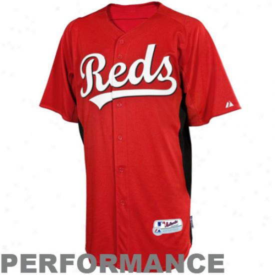 Majestic Cincinnati Reds Youth Batting Practice Performance Jersey - Red-black