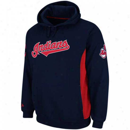 Majestic Cleveland Indians Ca0tain Pullover Hoodie Sweatshirt - Navy Blue