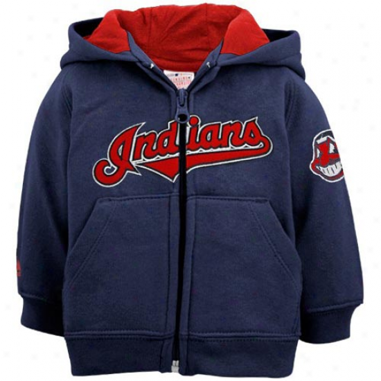 Splendid Cleveland Indoans Infant Navy Blue Full Zip Hoody Sweatshirt