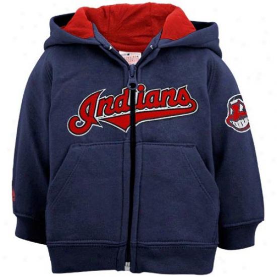 Splendid Cleveland Indoans Infant Navy Blue Full Zip Hoody Sweatshirt