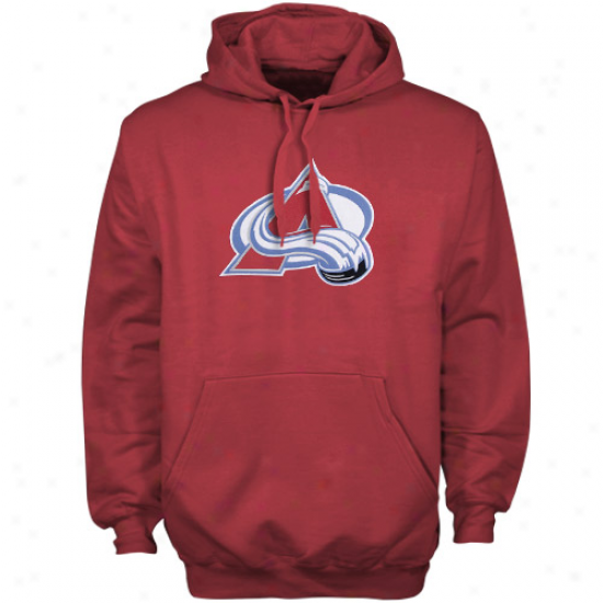 Majestic Colorado Avalanche Red Felt Tek Patch Pullover Hoody Sweatshirt