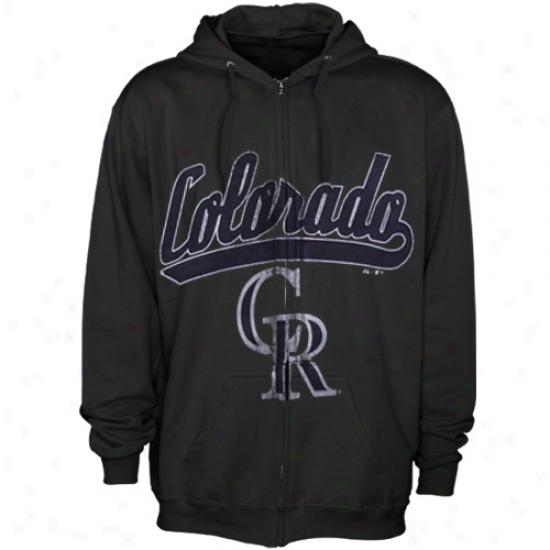 Majestic Colorado Rockies Black Big Club Saturated Zip Hoodie Sweatshirt