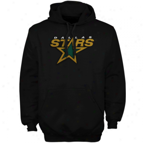Majestic Dallas Stars Black Felt Tek Patch Pullover H0ody Sweatshirt