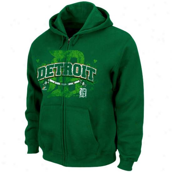 Majestic Dteroit Tigers Green Is In Full Zip Hoodie - Green