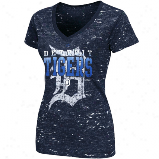 Majestic Detroit Tigers Ladies Topaz Haze Fazhion T-shirt - Navy Blue