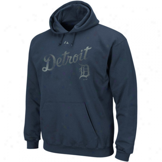 Majestic Detroit Tigers Navy Blue Hook Slide Hoody Sweatshirt