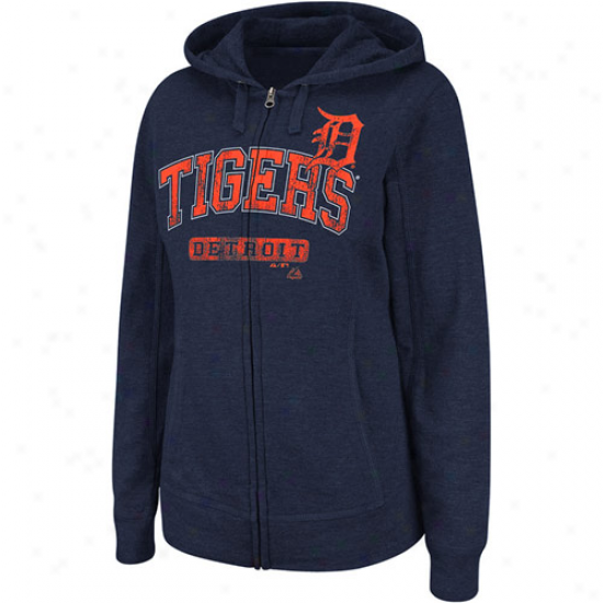 Majestci Detroit Tigers Real Flava Full Zip Heathered Hoodie - Navy Blue