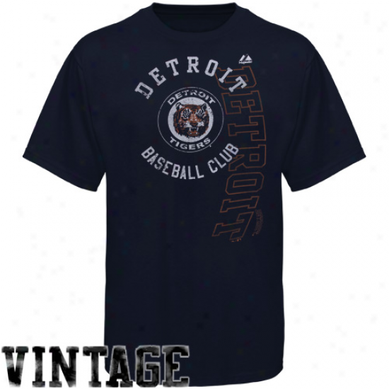 Majestic Detroit Tigers Robust Rookie Modern Fit T-shirt - Navy Livid