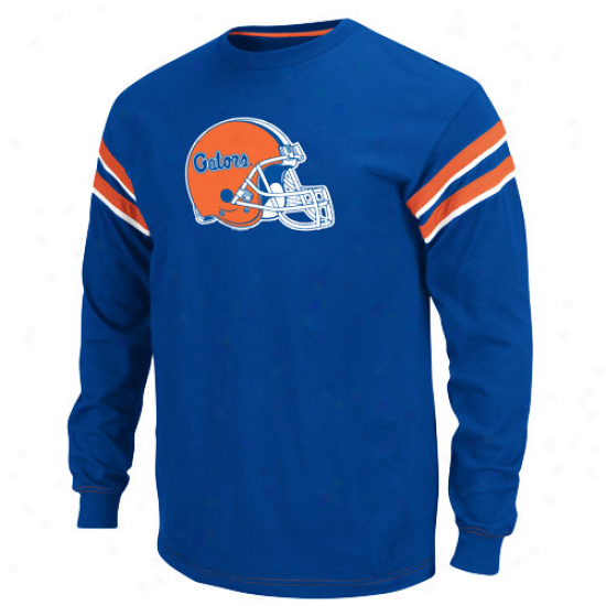 Majestic Florida Gators Royal Blue Endzone Long Sleeve Crew T-shirt