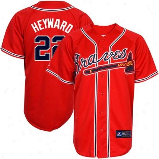 Majestic Jason Heyward Atlanta Braves Youth Replica Jersey-#22 Red
