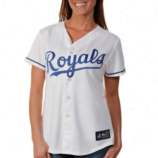 Majestlc Kansas City Roylas Women's Replica Home Jersey - White
