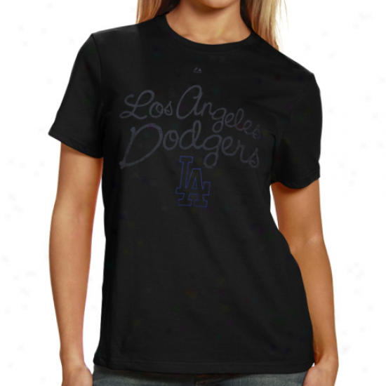 Majestic L.a. Dodgers Ladies Botttom Of The Ninth T-shirt - Black