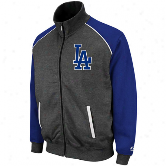 Majestic L.a. Dodgers Legendary Full Zip Track Jacket - Charcoal-royal Blue