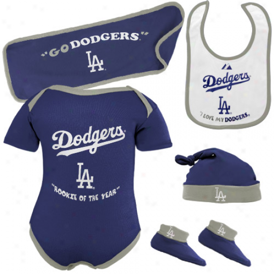 Majestic L.a. Dodgers Newborn Royal Blue Rookie Of The Year 5-piece Creeper Set