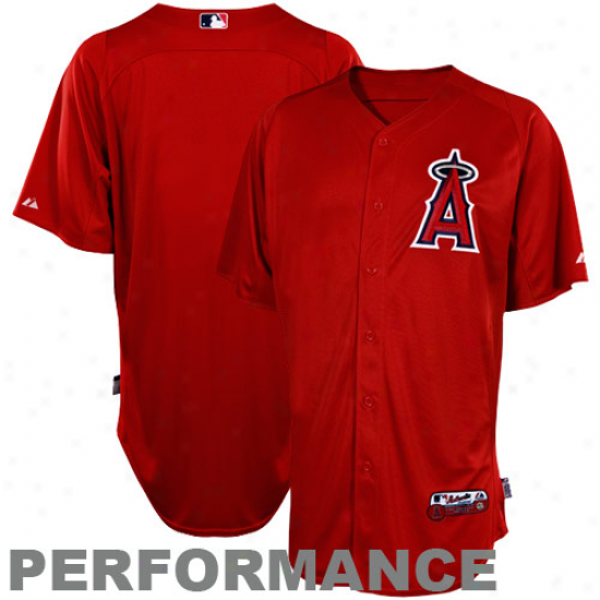 Majestic Los Angeles Angels Of Anaheim Batting Practice Performance Jersey - Red