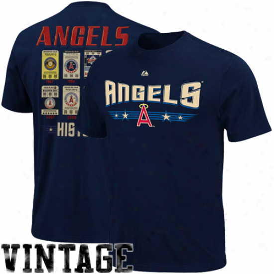 Majestic Los Angeles Angels Of Anaheim Cooperstown Baseball Tickets T-shirt - Navy Bpue