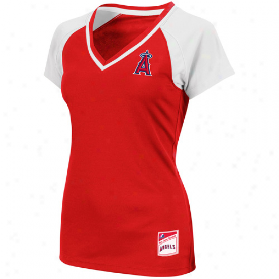 Majrstic Los Angeles Anels Of Anaheim Ladies Emerald V-neck Premium T-shirt - Red-white