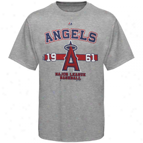 Majestic Los Angeles Angels Of Anaheim Opening Series T-shirt - Ash