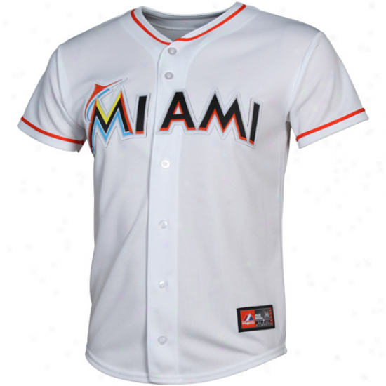 Majestic Miami Marlins Youth Replica Veil Jersey - White