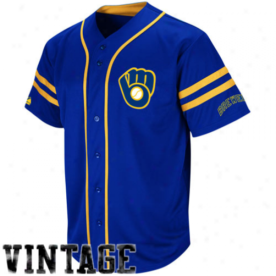 Splendid Milwaukee Brewers Cooperstown Throwback Heater Jersey - Royal Blue