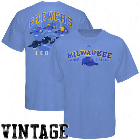 Majestic Milwaukee Brrewers Light Blue Nostalgia Vintage T-shirt