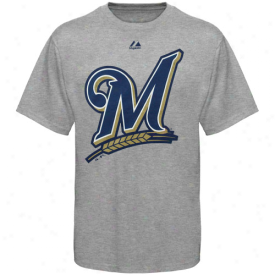 Majestic Milwaukee Brewers Youth Ash Soft Density Official Logo T-shirt