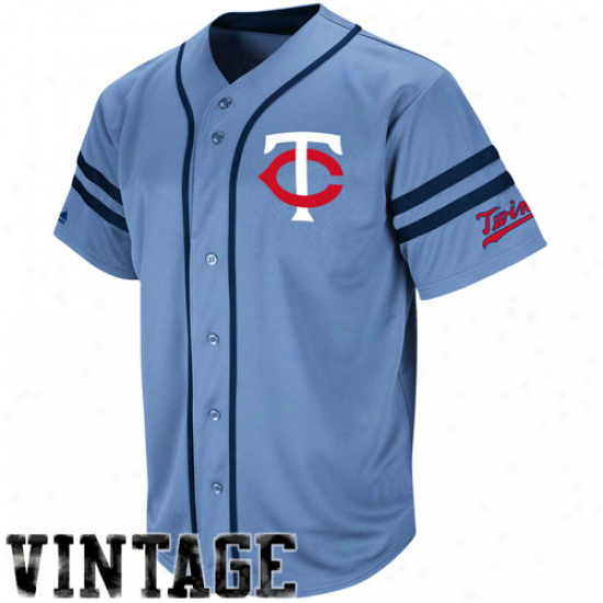Majestic Minnesota Twins Cooperstown Throwback Heater Jersey - Light Blue
