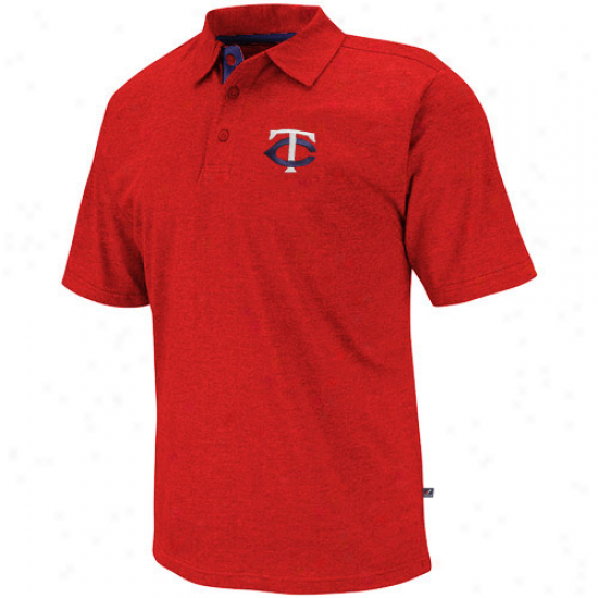 Majestic Minnesota Twins Noble Heathered Polo - Red