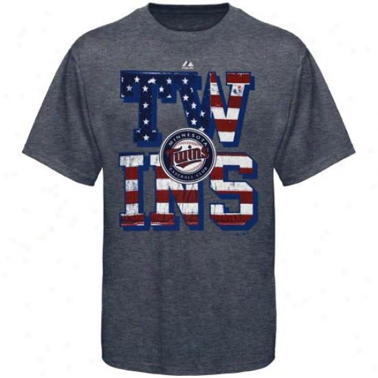 Majestic Minnesota Twins Star Spanyled Heathered T-shirt - Navy Dismal