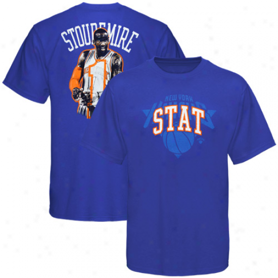 Majestic New York Knicks #1 Amar'e Stoudemire Youth Royal Blue Notorious Hd Player T-shirt