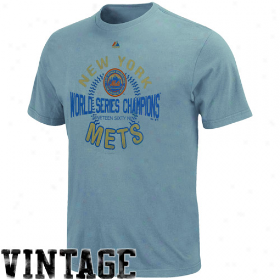 Majestic New York Mets Band Of Sluggers World Series Champs T-shirt - Light Blue