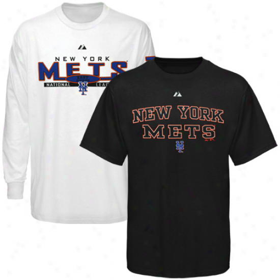 Majestic Unaccustomed York Mets Black-white Package T-shirt Combo Set