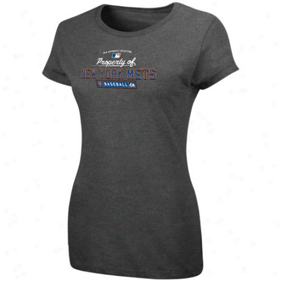 Majestic Starting a~ York Mets Ladies Charcoal Property Of T-shirt