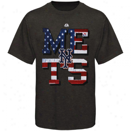 Majestic New York Mets Star Spangled Heathered T-shirt - Charcoal