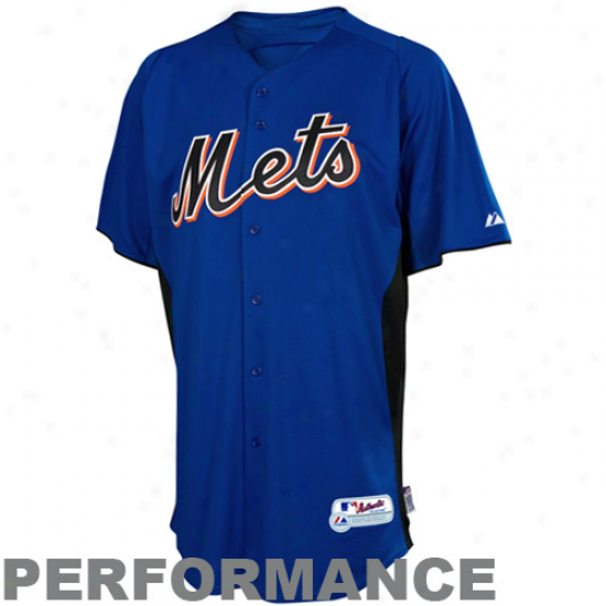 Majestic New York Mets Youth Battting Practice Performance Jersey - Royal Blue-black